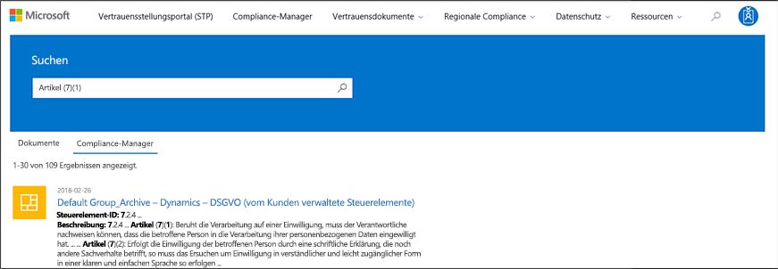 Service Trust Portal – Durchsuchen von Compliance-Manager-Steuerelementen