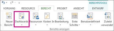 Schaltfläche 'Dashboard' auf der Registerkarte 'Bericht'