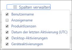 Office365-Berichte – Verfügbare Spalten für Office-Aktivierungen