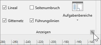 """Screenshot der Symbolleiste für Lineal, Gitter, Führungslinien mit hervorgehobenem Symbol """"Optionen"""""""