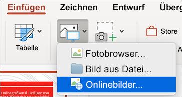 """Menü """"Einfügen"""" mit dem Befehl """"Onlinebilder"""""""