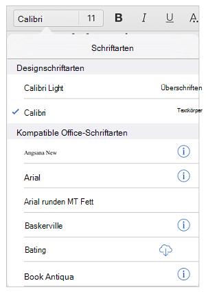 Optionen für Schriftarten