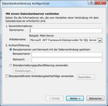 Dialogfeld 'Datenbankverbindung konfigurieren'