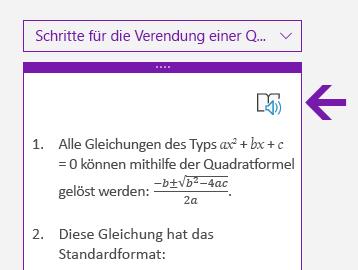 Symbol des plastischen Readers im Mathematikbereich in OneNote für Windows 10