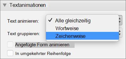 """Auswählen der Option """"nach Buchstabe"""""""