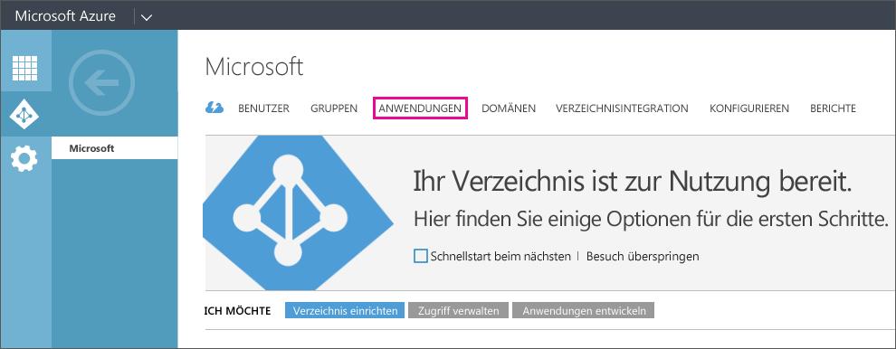 """Zeigt das Azure AD-Menü mit ausgewähltem Eintrag """"ANWENDUNGEN""""."""