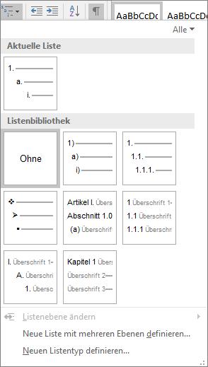 """Mithilfe der Schaltfläche """"Liste mit mehreren Ebenen"""" können Sie eine Nummerierung zu einer integrierten Überschriftenformatvorlagen, z. B. Überschrift 1, in Ihrer Dokumentüberschrift hinzufügen."""