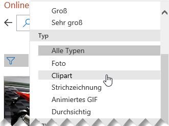 Verwenden Sie den Typfilter, um Ihre Auswahl auf ClipArt-Objekte einzugrenzen.