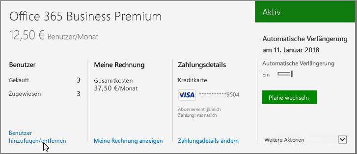 Link zum Hinzufügen oder Entfernen von Benutzerlizenzen aus einem Office 365 Business-Abonnement