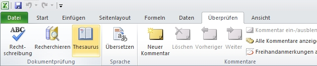 "Excel-Menüleiste, Registerkarte ""Überprüfen"", ""Thesaurus"""
