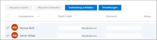 Alle Ihre Benutzer werden mit bereits ausgefüllter E-Mail-Adresse aufgeführt.
