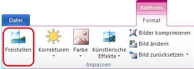 """Die Schaltfläche """"Hintergrund entfernen"""" auf der Registerkarte """"Format"""" unter """"Bildtools"""" im Menüband in Office 2010"""