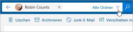 """Screenshot der Schaltfläche """"Filter"""" in der Suchleiste"""