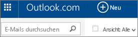 Outlook.com-Menüleiste