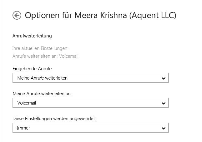 Screenshot der Weiterleitungsoptionen für eingehende Anrufe mit Optionen zur Weiterleitung an Voicemail und zur ständigen Weiterleitung