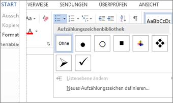 Auf der Registerkarte 'Start' in der Gruppe 'Absatz' über die Schaltfläche 'Aufzählungszeichen' geöffnete Aufzählungszeichenbibliothek