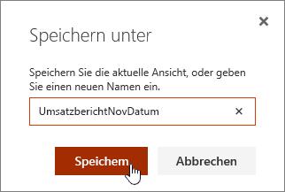 """SharePoint Online-Ansicht, Dialogfeld """"Speichern unter"""""""