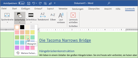 Ein Word-Dokument mit einem grünen Hintergrund und geöffneter Seiten Farbauswahl