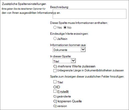 Auswahldialogfeld für Nachschlagespalten