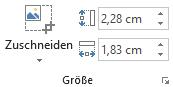"""Die Schaltfläche """"Zuschneiden"""" und die Felder """"Höhe"""" und """"Breite"""" für Bilder im Menüband von Office 2016"""