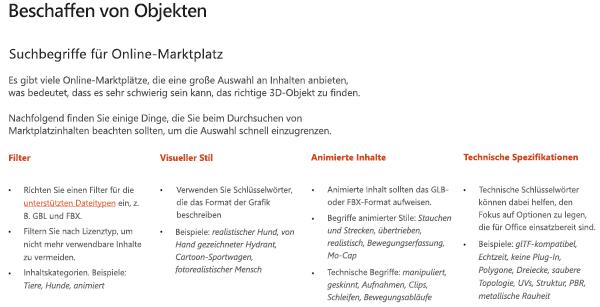 """Screenshot des Abschnitts """"Beschaffungs Ressourcen"""" in den Richtlinien für 3D-Inhalte"""