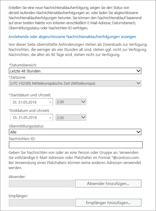 Screenshot mit den verfügbaren Optionen der Nachrichtenablaufverfolgung
