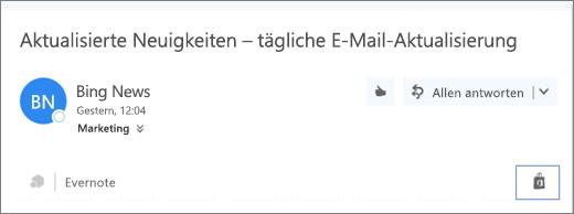 """Screenshot eines Auszugs des oberen Teils einer E-Mail-Nachricht, in dem das Symbol """"Store"""" hervorgehoben ist. Durch Klicken auf das Symbol wird das Fenster """"Add-Ins für Outlook"""" geöffnet, in dem Sie nach Add-Ins suchen und die gewünschten Add-Ins installieren können."""