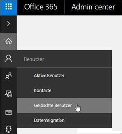"""Wechseln Sie zu """"Benutzer"""" > """"Gelöschte Benutzer""""."""