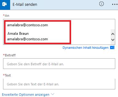 Screenshot: Wählen Sie Ihre E-Mail in der Liste aus.