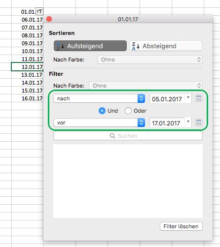 Excel für Mac-Filter für Datumswerte
