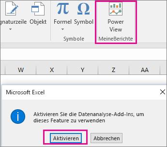 Schaltfläche für benutzerdefinierte Power View und Dialogfeld zum Aktivieren des Add-Ins in Excel