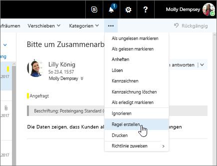 """Screenshot der E-Mail-Nachricht mit """"Weitere Befehle"""" > """"Regel erstellen"""" ausgewählt"""