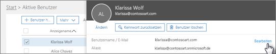"""Wählen Sie auf der Seite """"Aktive Benutzer"""" einen Benutzer aus, und klicken Sie dann neben dem Benutzernamen auf """"Bearbeiten""""."""