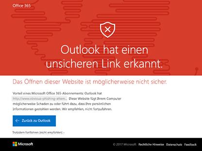 Outlook hat einen unsicheren Link erkannt.