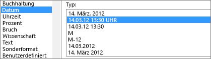 Dialogfeld ' Zellen formatieren ', Befehl ' Datum ', 3/14/12 1:30 pm-Typ