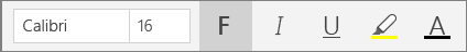 """Schaltflächen für die Textformatierung im Menü """"Start"""" des Menübands von OneNote für Windows 10."""