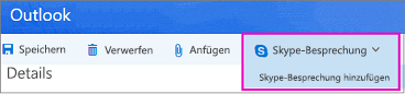 "Option ""Neue Skype-Besprechung"" in Outlook im Web"