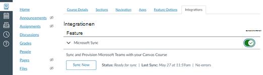 "Registerkarte ""Integration"" mit Funktion zu Microsoft Sync"