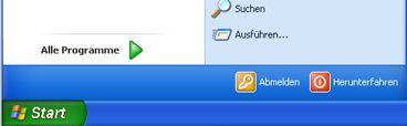 Schaltfläche 'Start' und Befehl 'Ausführen' unter WindowsXP