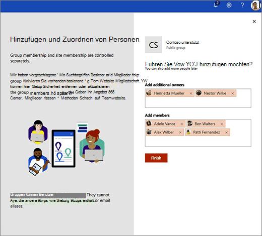 Fügen Sie der neuen Office 365-Gruppe weitere Besitzer und Mitglieder hinzu.