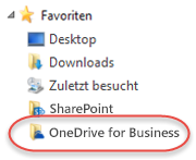 Favoritenauflistung für OneDrive for Business unter SP2016