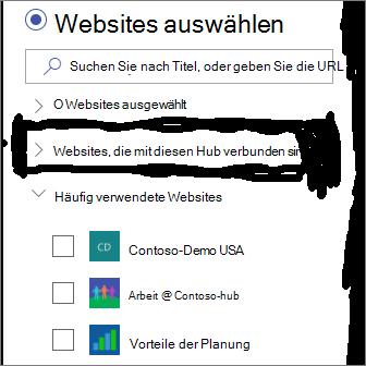Auswählen von Websites in News-Webparts