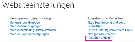 """Option """"Erscheinungsbild ändern"""", unter """"Websiteeinstellungen"""""""