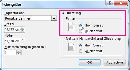 ändern Der Seitenausrichtung In Powerpoint Zwischen Querformat Und