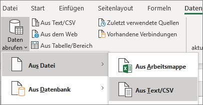 """Auf der Registerkarte """"Daten"""" ist die Option """"Aus Text"""" hervorgehoben."""
