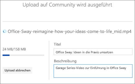 """Screenshot des Bildschirms """"Upload"""" mit dem Titel, der Beschreibung und dem Uploadstatus für ein Video"""