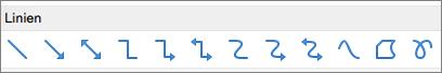 """PowerPoint für Mac, """"Linien"""""""