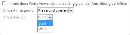 """Office-Design-Dropdownmenü mit den Designoptionen """"Farbig"""" und """"Weiß"""""""