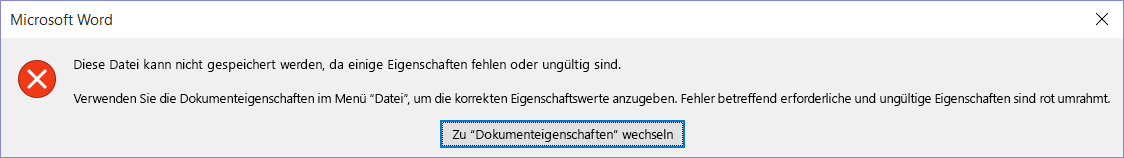 Dialogfeld mit der Meldung, dass die Datei nicht gespeichert werden kann