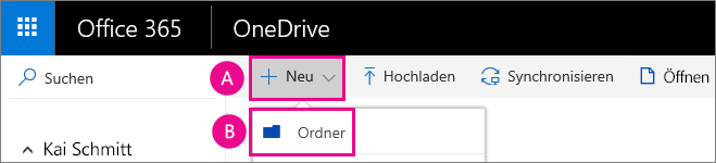 Erstellen eines neuen Ordners in OneDrive for Business